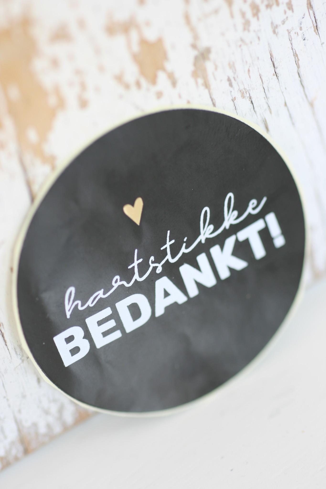 Ronde sticker 'hartstikke bedankt' zwart/wit, 10st