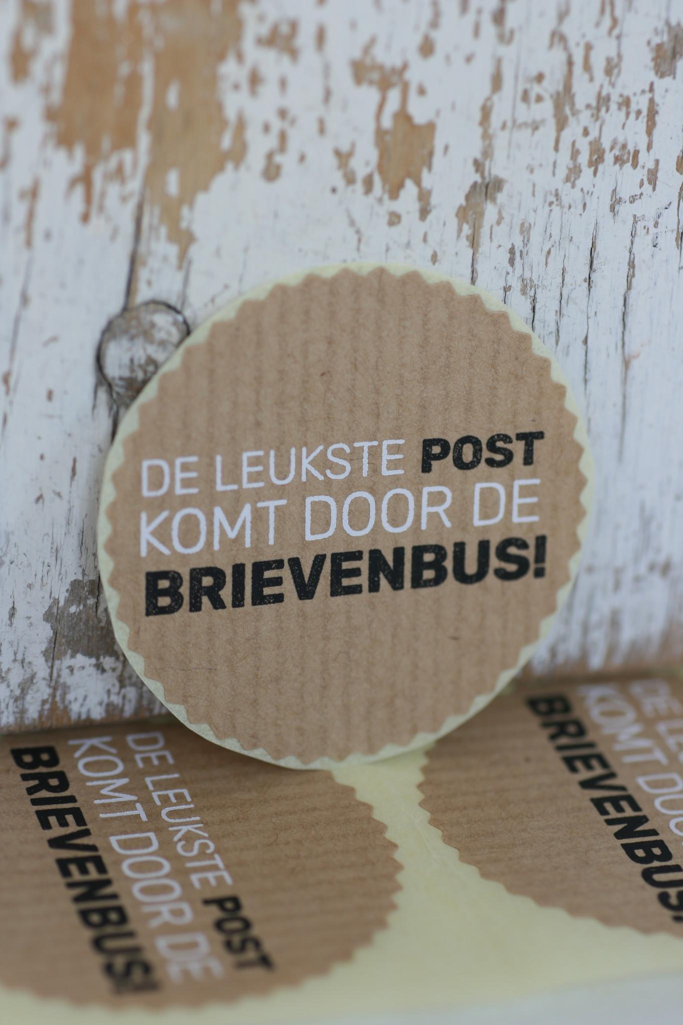 Ronde sticker kartel 'De leukste post ...' kraft, 10st