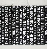 Papieren zakjes 12x19cm zwart met witte tekst, 5 stuks