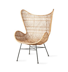 HKliving Stoel 'Egg' Rotan naturel  bohemian