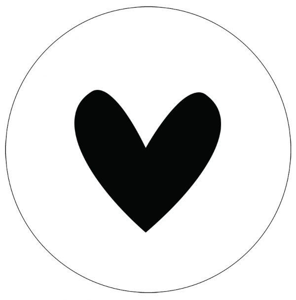 Label-R Muurcirkel hart zwart  - 40cm