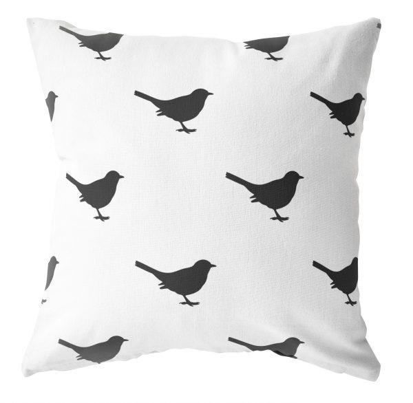 Label-R Outdoor kussen wit met vogeltje zwart - 40x40cm