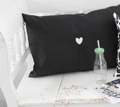Outdoor kussen druk op pauze zwart  - 60x40cm