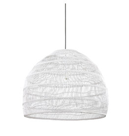 HK Living Wicker hanglamp L - wit