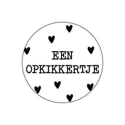 Ronde sticker 'opkikkertje' wit/zwart, 10st