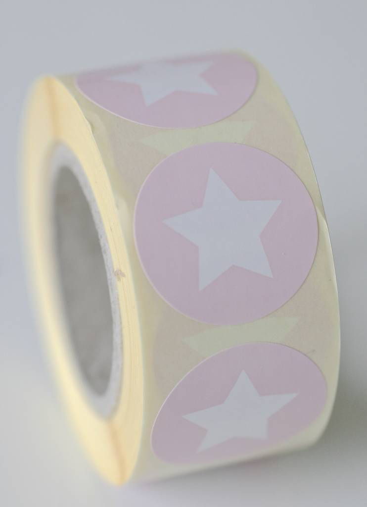 Ronde sticker met ster roze, 10st