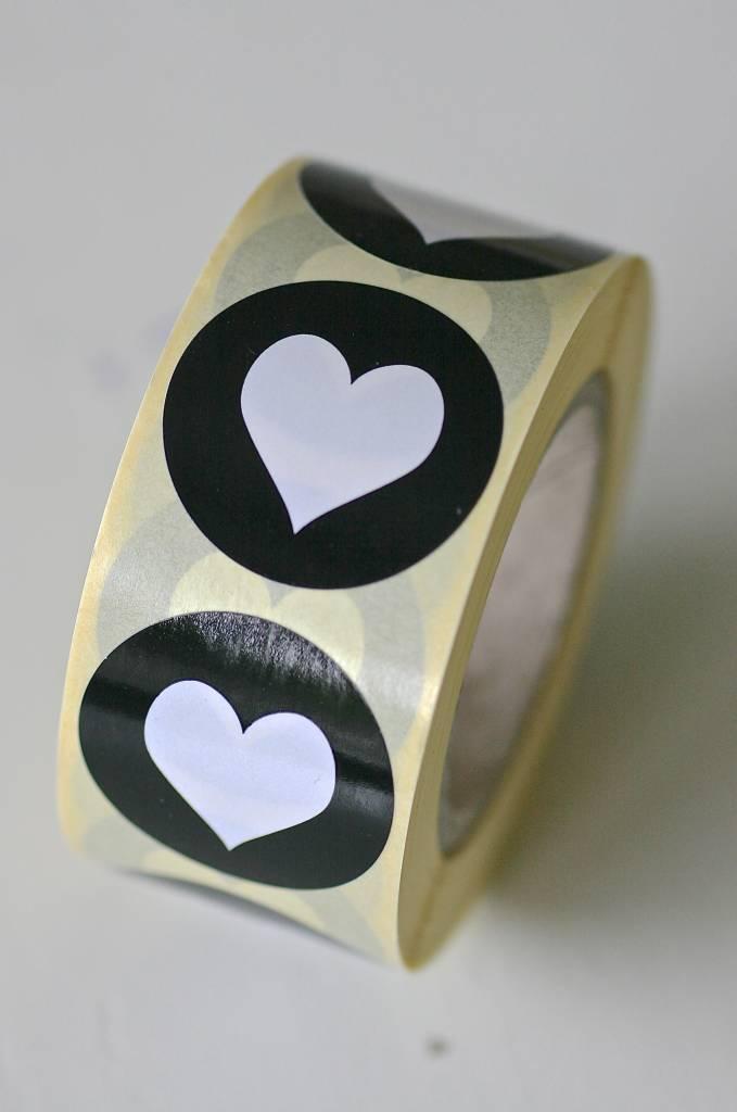 Ronde sticker hartje wit/zwart, 10st