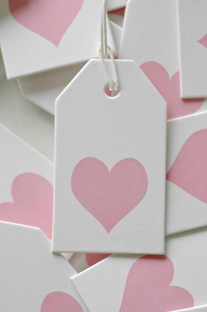 Label karton 4x7cm wit met hartje roze