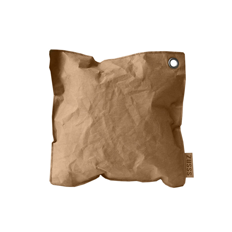 Zusss Kussen vierkant gelooid papier naturel