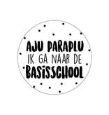 Ronde sticker 'Aju paraplu ik ga naar de basisschool' wit/zwart, 10st