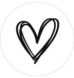 Ronde kadosticker wit met handgetekend hart, 10st