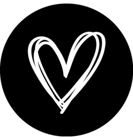 Ronde kadosticker zwart met handgetekend hart, 10st