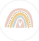 Ronde kadosticker regenboog pastel roze, 10st