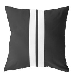 Label-R Outdoor kussen zwart 2 strepen wit - 60x60cm