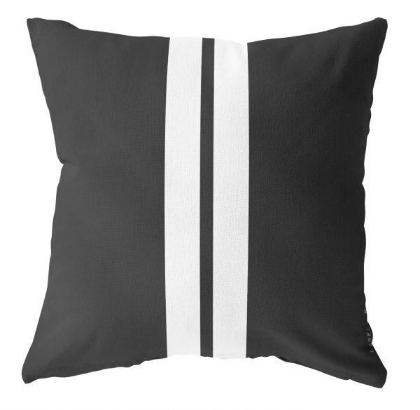 Outdoor kussen zwart 2 strepen wit - 60x60cm