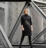 Zusss gebreide jurk met col - grafiet