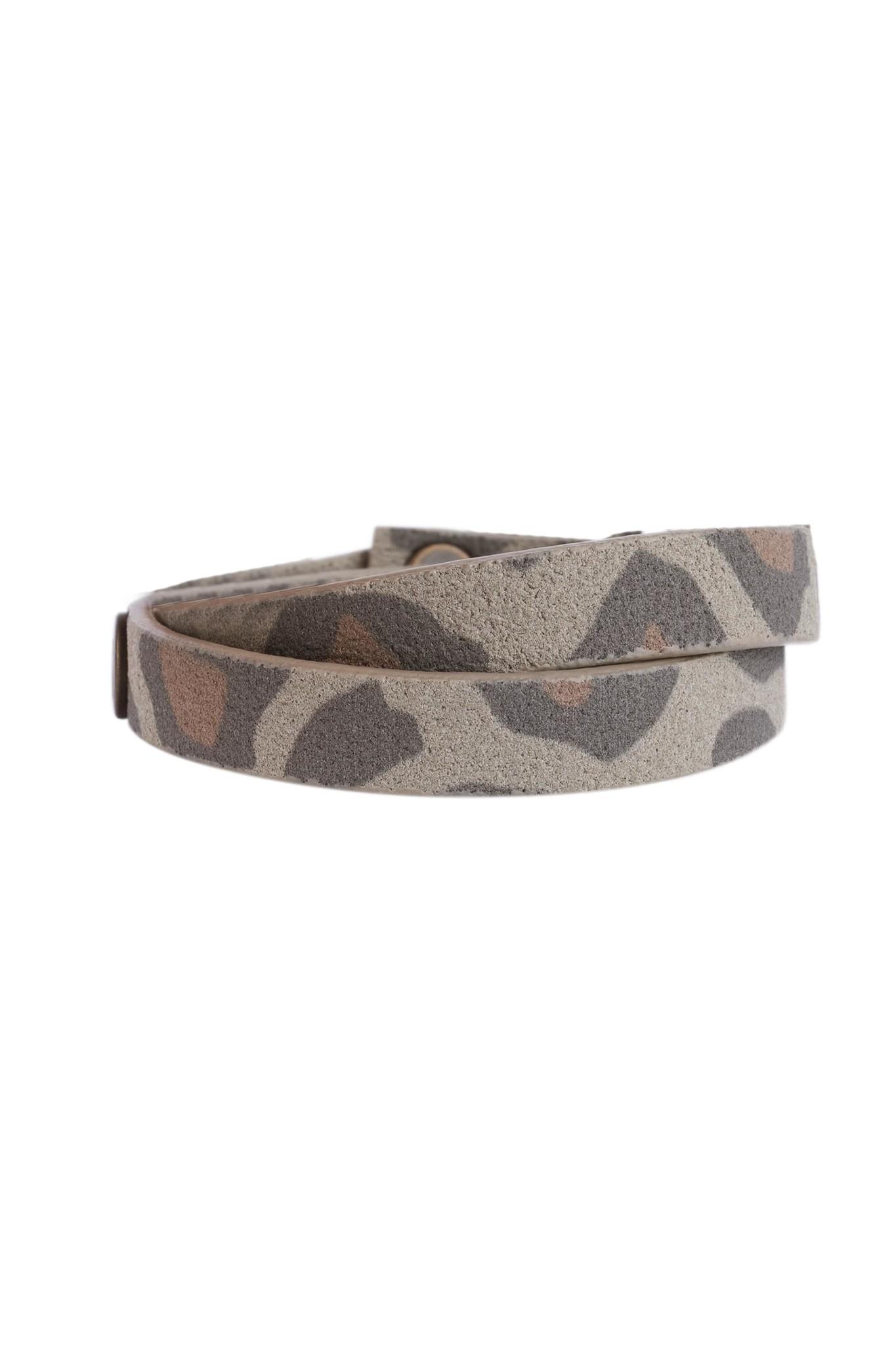 Zusss wikkelarmband leer - leopard