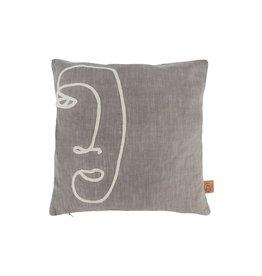 Zusss Kussen gezicht - warm grijs