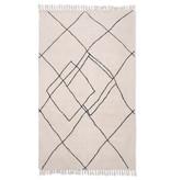 HK Living Katoenen vloerkleed zigzag 150x240cm - zwart/wit