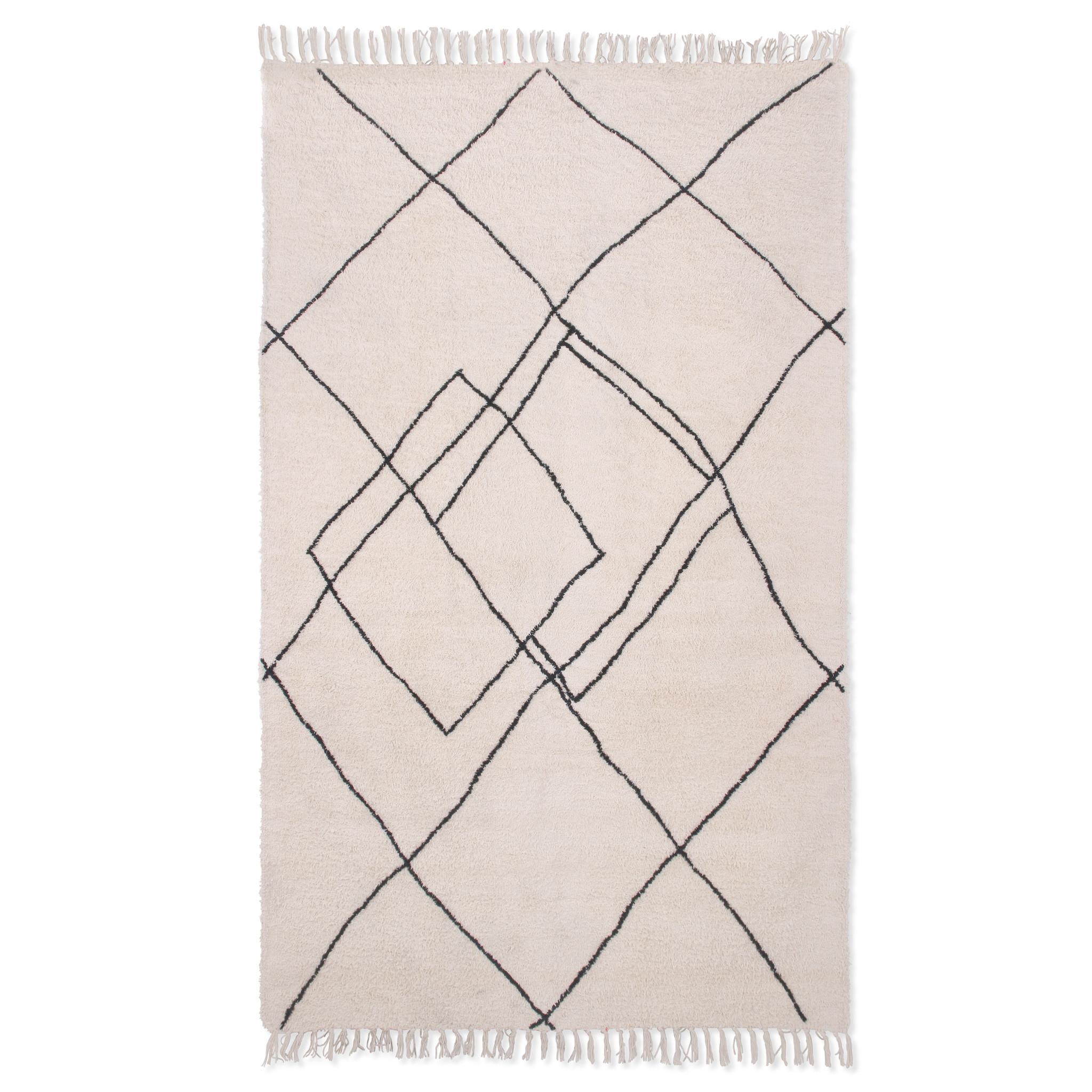 HKliving Katoenen vloerkleed zigzag 150x240cm - zwart/wit
