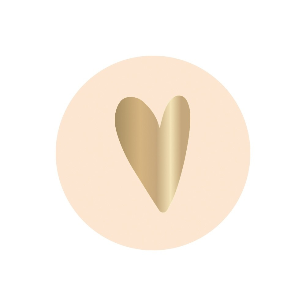 Ronde cadeausticker hartje goud/beige, 10st