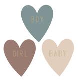 Cadeausticker hartje Boy/Girl/Baby, 9st