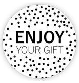 XL kadosticker enjoy your gift - zwart - 10 st