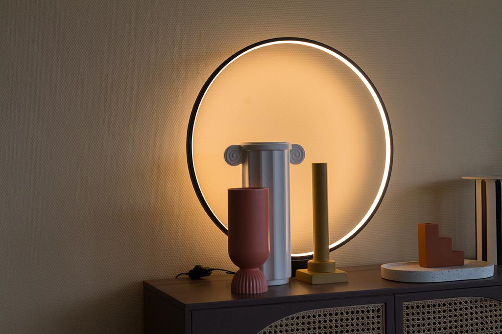 HKliving tafellamp luminous circle - zwart