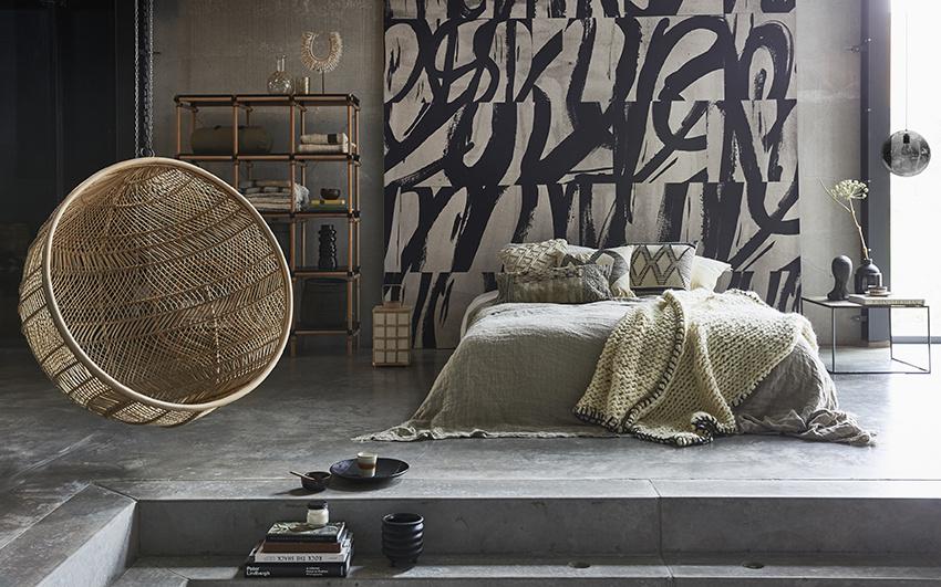 HK Living hangstoel rotan bohemian - natural