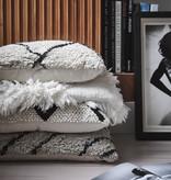 HK Living Kussen ruitpatroon 50x50cm - wit/zwart