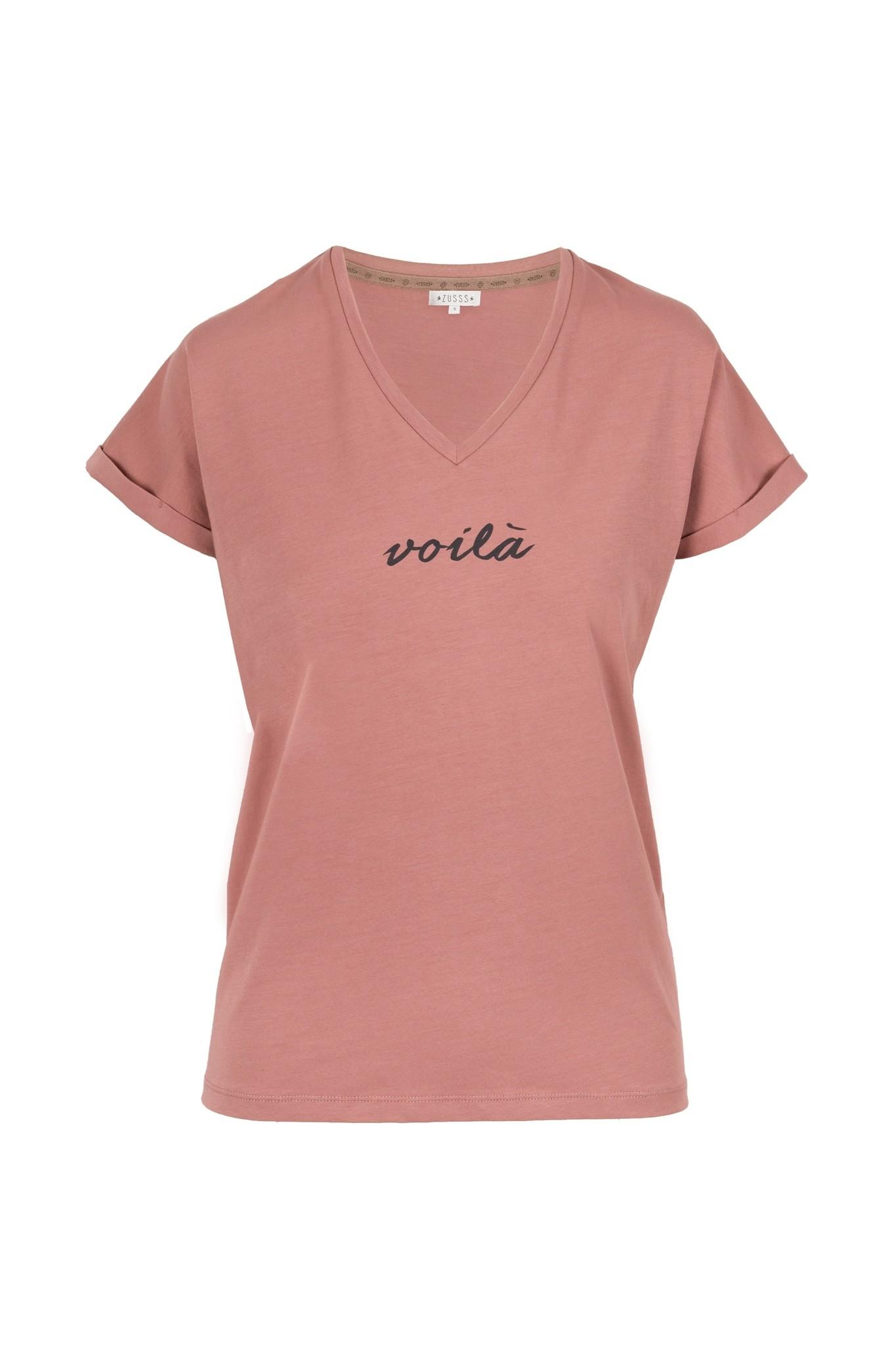 Zusss basic t-shirt met v-hals - rouge