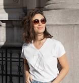 Zusss basic t-shirt met v-hals - wit