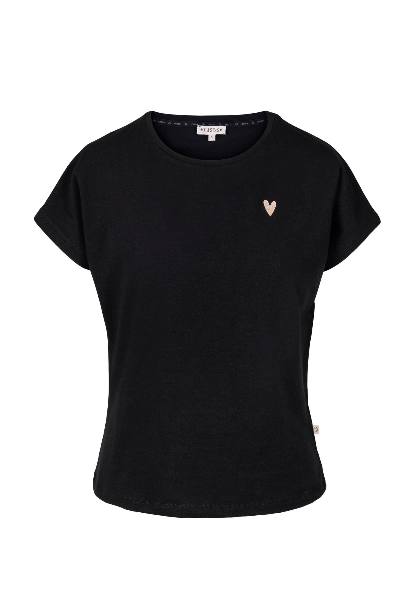 Zusss basic t-shirt hartje - zwart