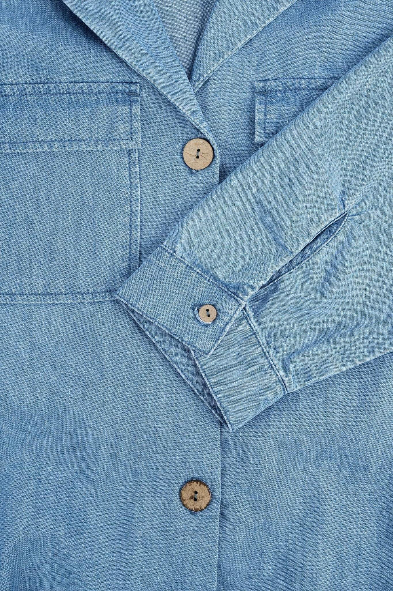 Zusss Doorknoopjurk jeans - lichtblauw
