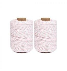 Klosje katoenkoord roze-wit