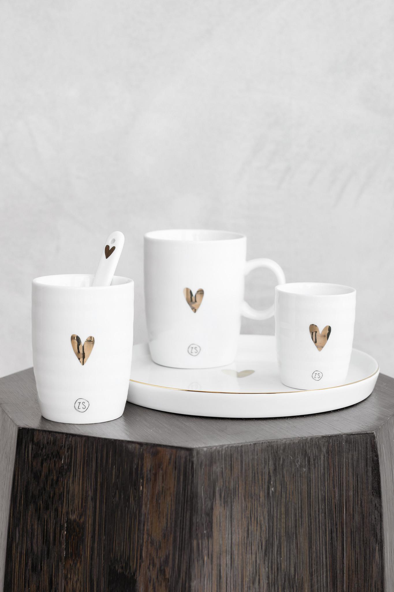 Zusss Espresso kopje aardewerk -  goud hartje