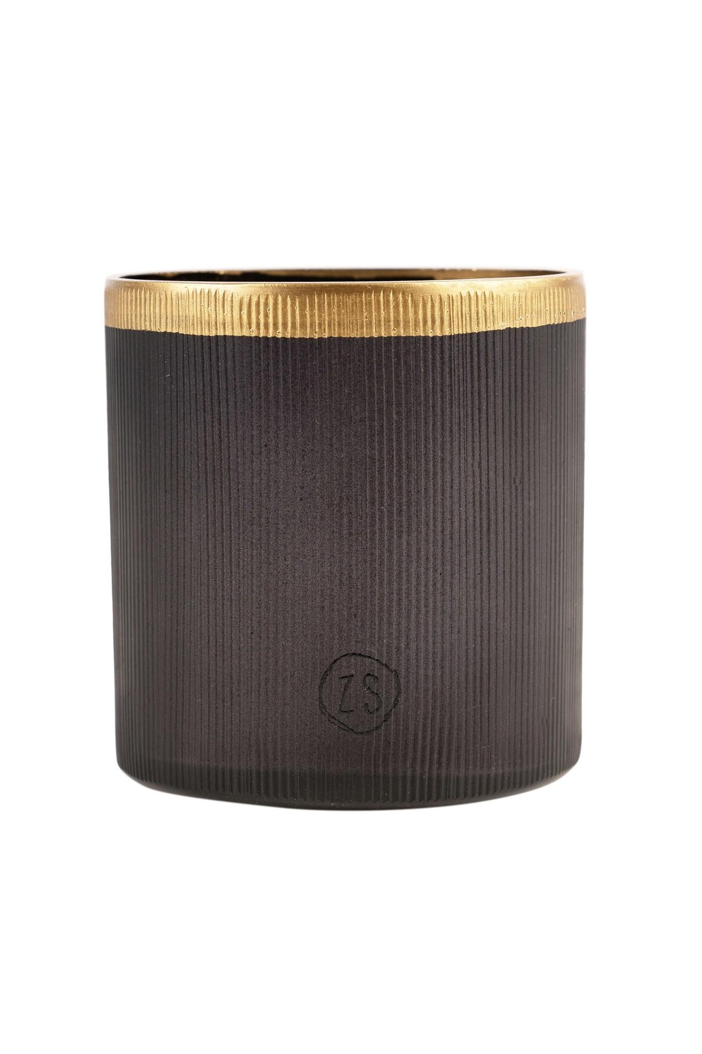 Zusss Waxinelichthouder glas - zwart