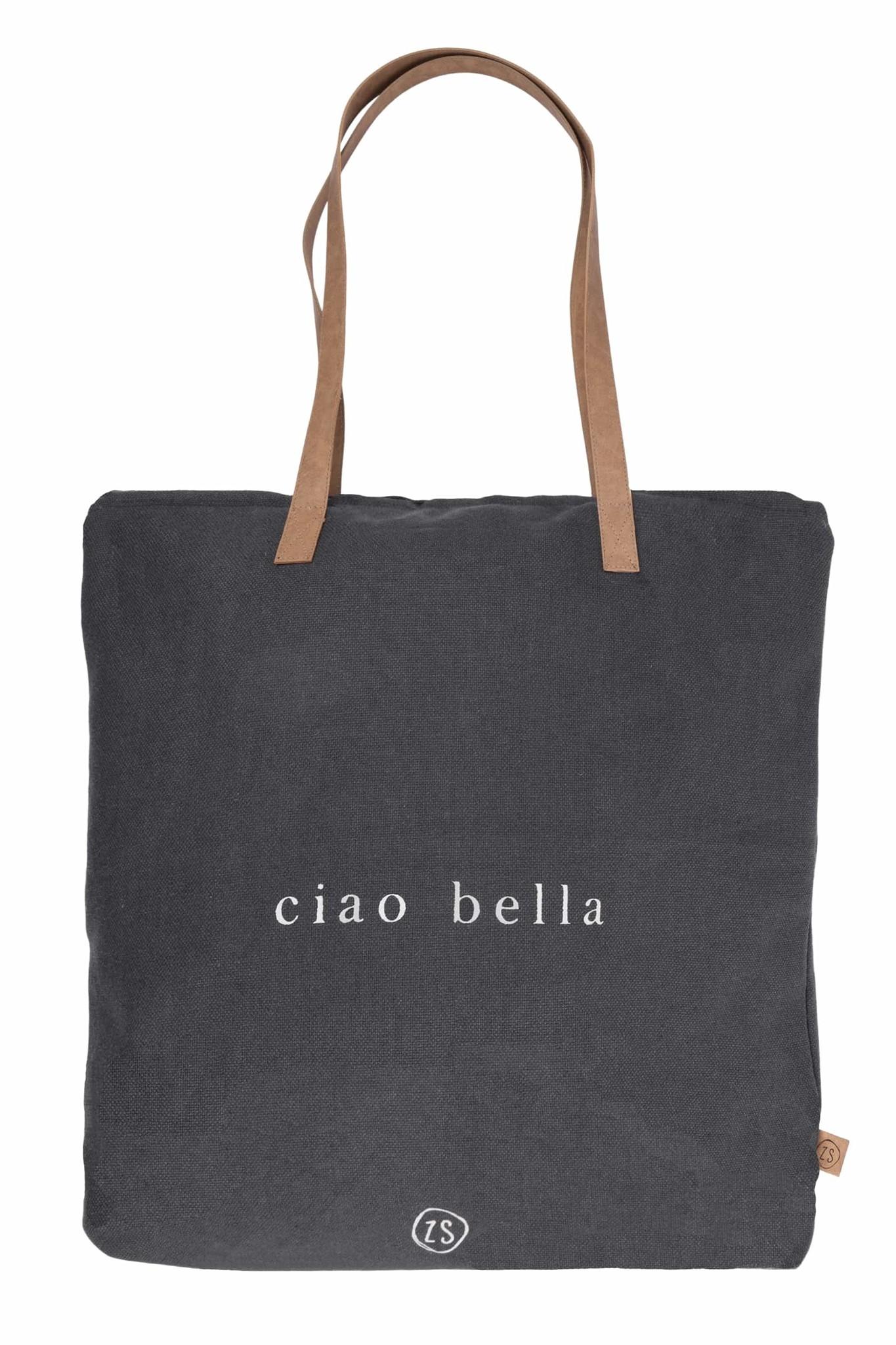 Zusss Hippe boodschappentas ciao bella - antraciet