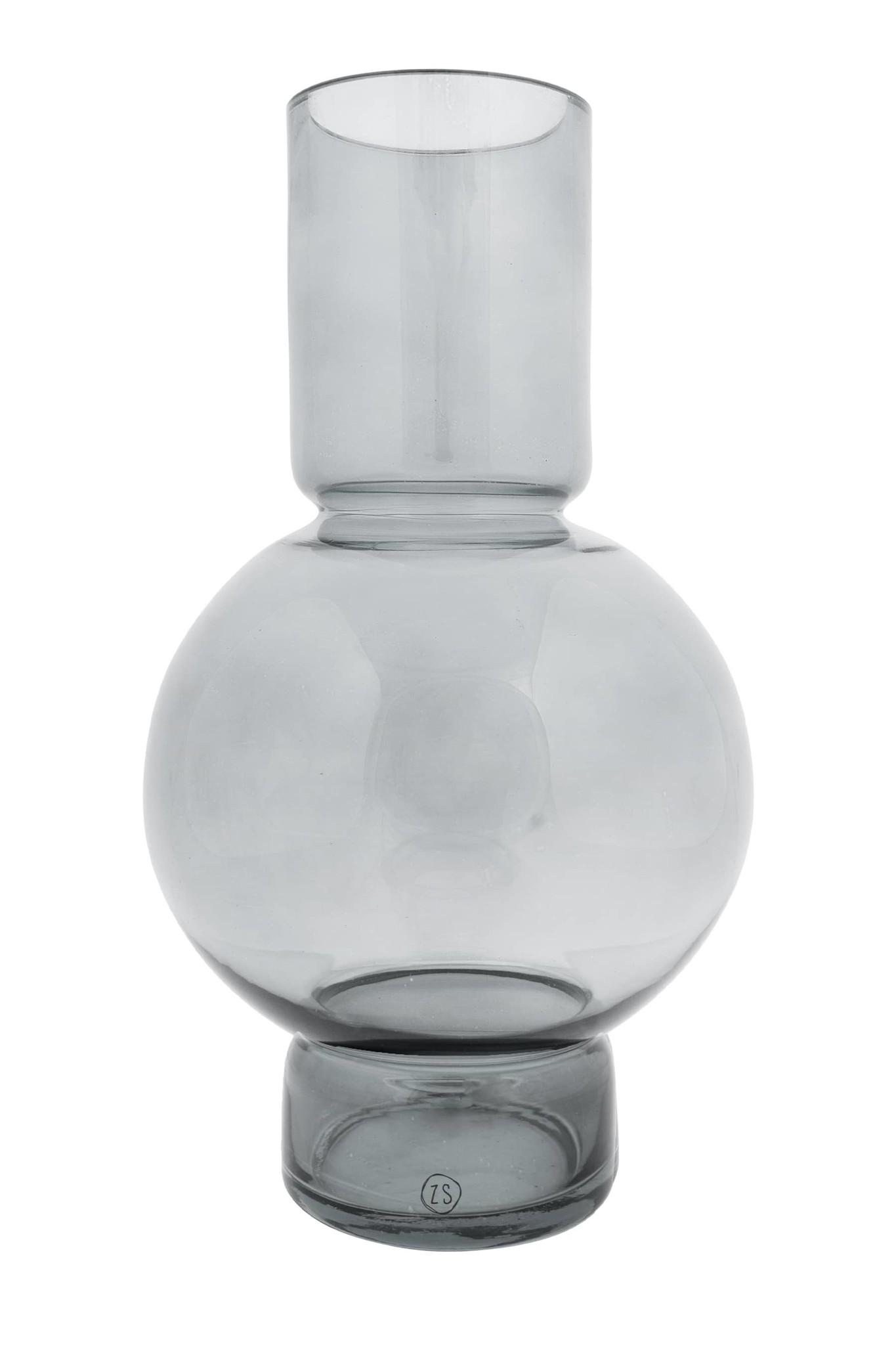 Zusss glazen bolvaas 17x30 - grafietgrijs