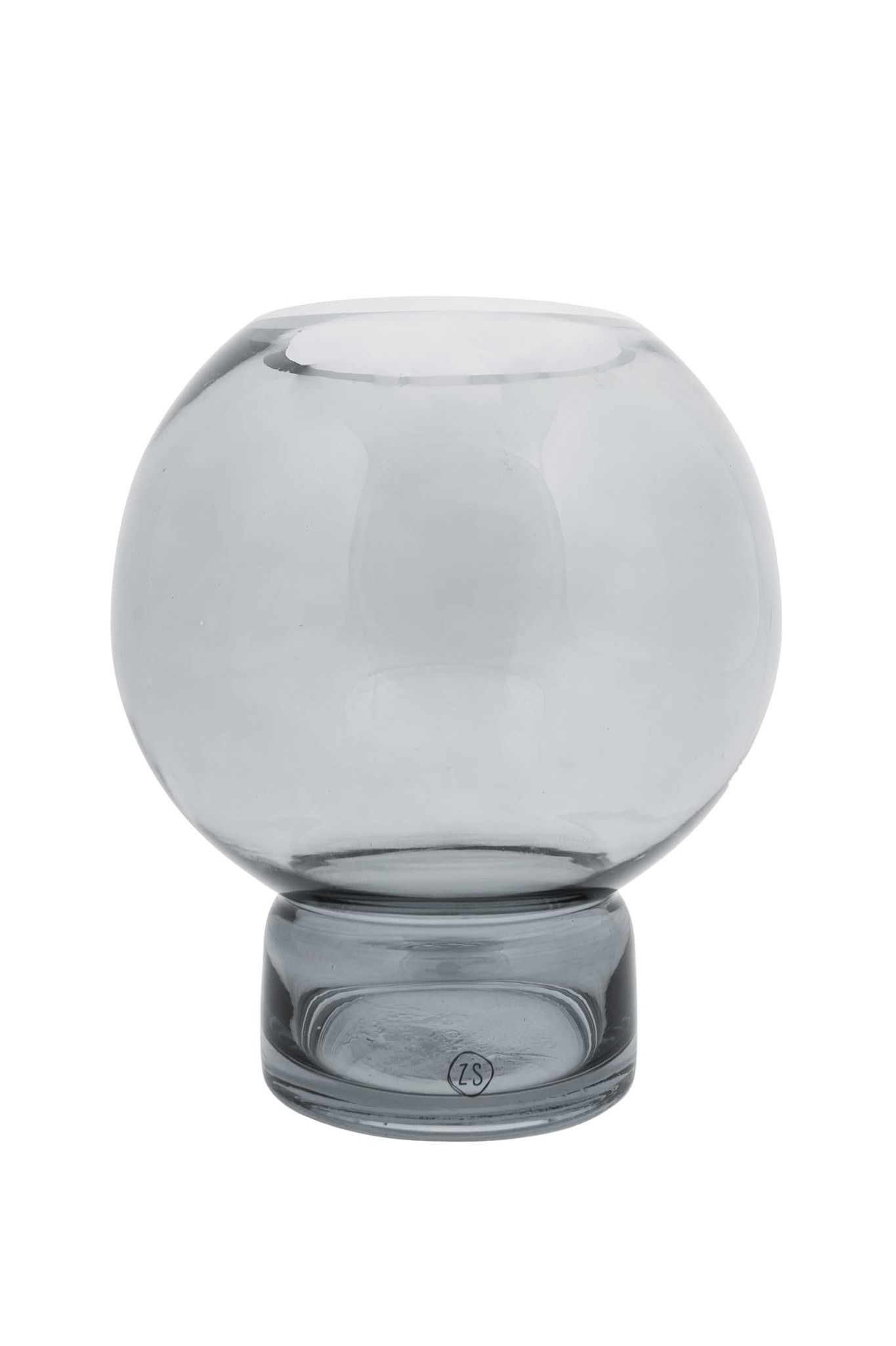 Zusss glazen bolvaas 17x19 - grafietgrijs