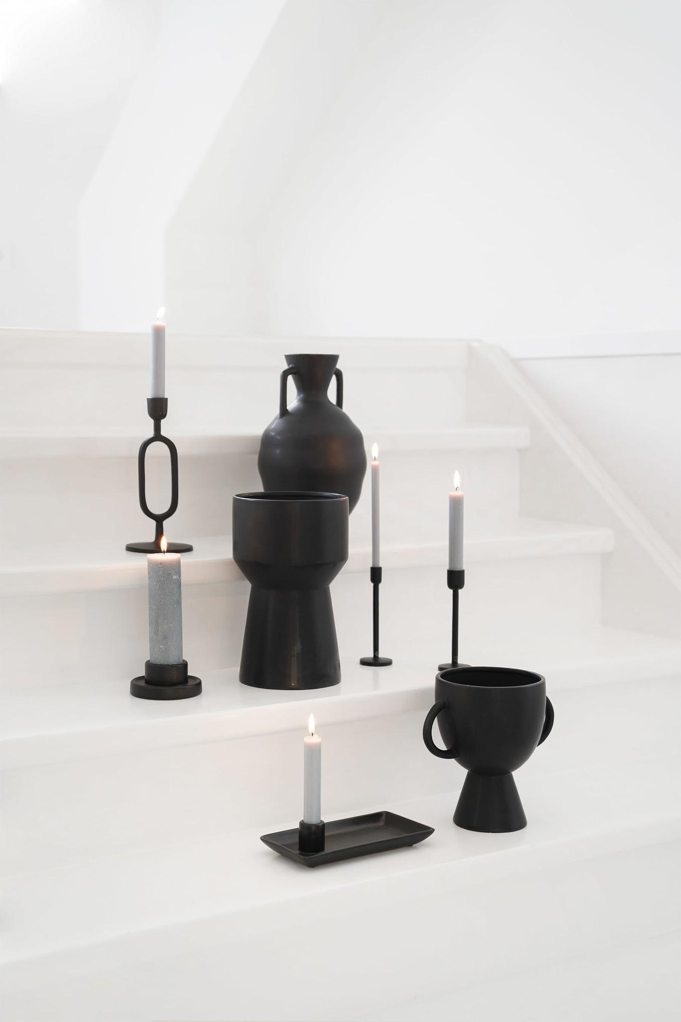 Zusss moderne vaas keramiek 16x27 - zwart