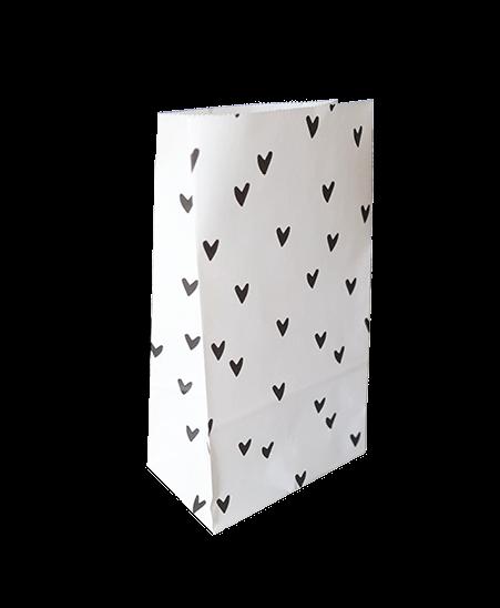 Papieren blokbodemzak hartjes, 10 stuks