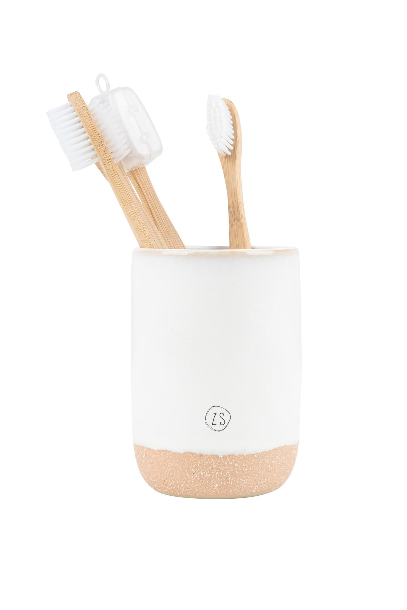Zusss tandenborstelhouder keramiek - wit