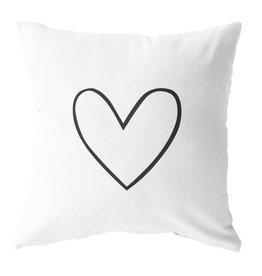 Outdoor kussen wit met zwart hart  - 40x40cm