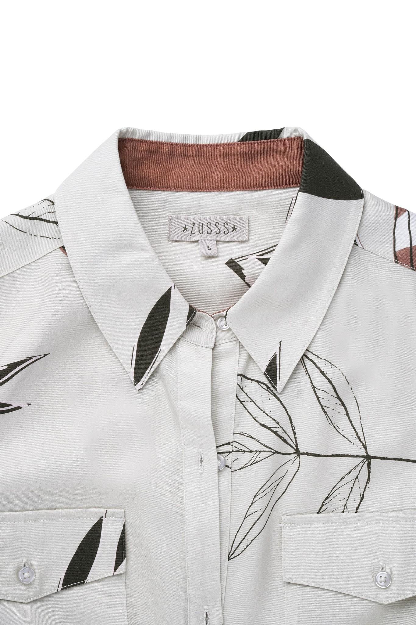 Zusss blousejurk met ceintuur bladprint
