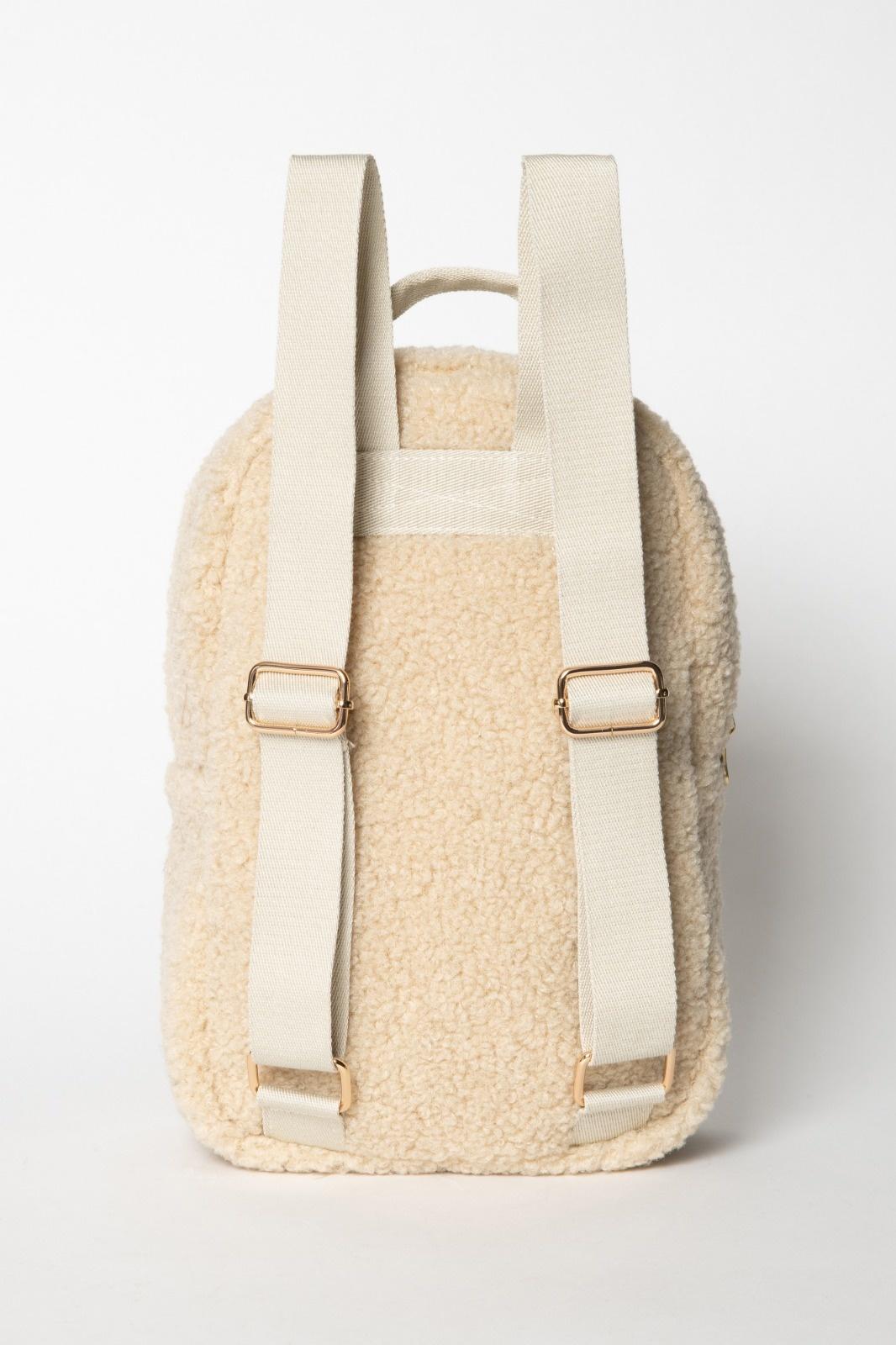 Studio Noos ecru teddy mini backpack