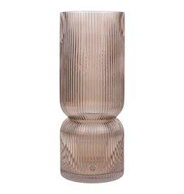 Zusss glazen vaas met ribbels - taupe