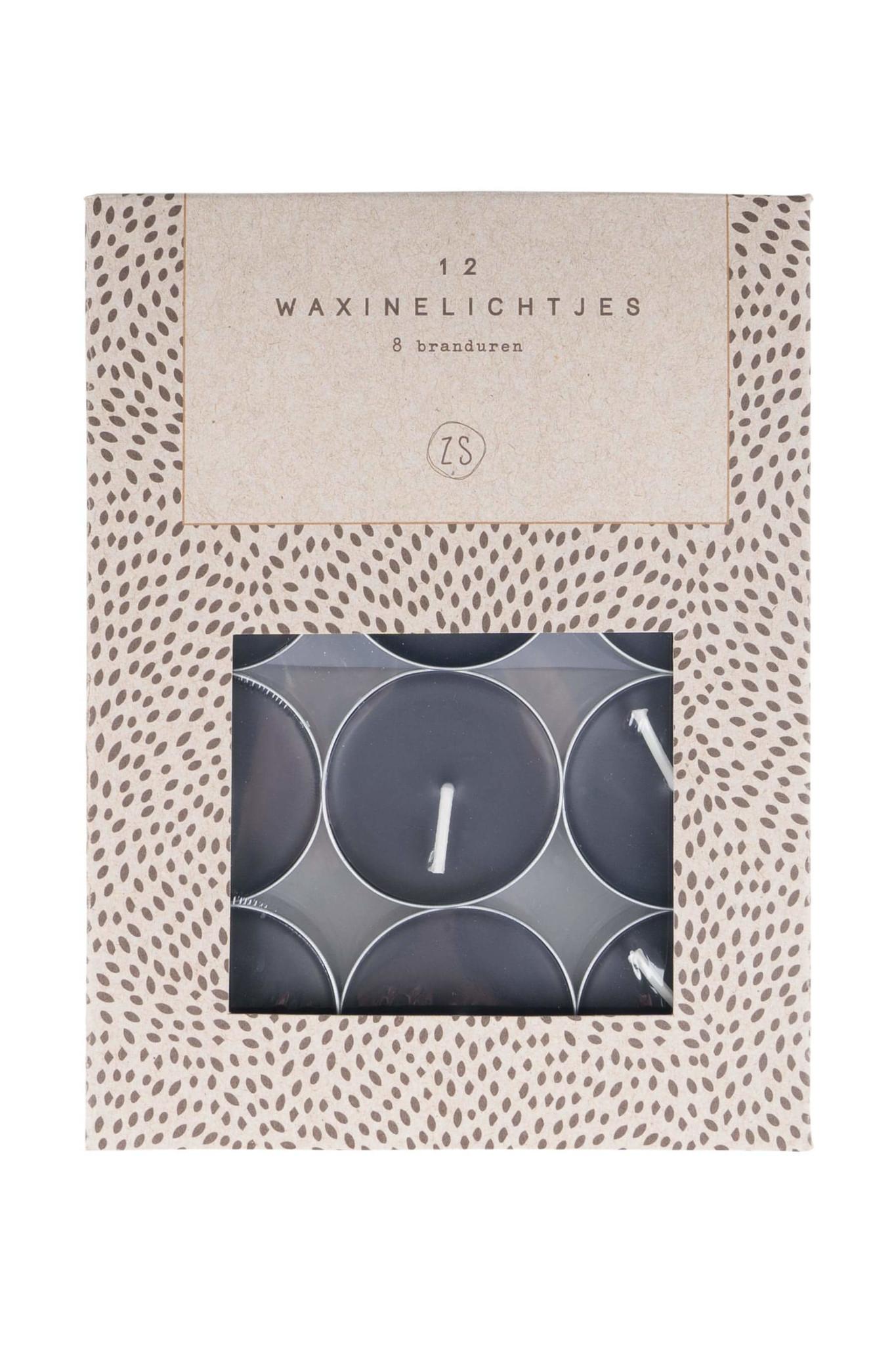 Zusss Waxinelichtjes set / 12 - zwart