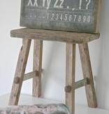 Oud bankje / krukje 47cm, bruin