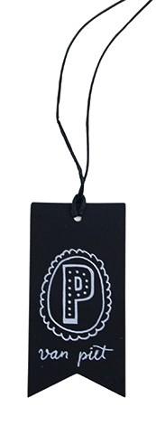 Label 'van Piet' karton 4x8cm, zwart